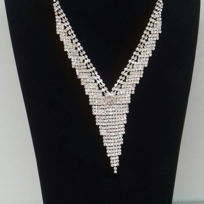 Faux Diamond Chandelier Shaped Necklace