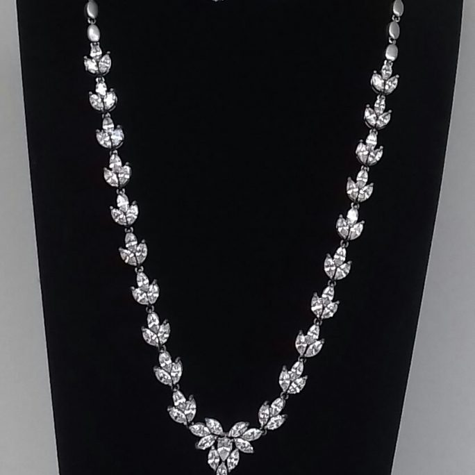 Faux Diamond Tear Pendant Necklace