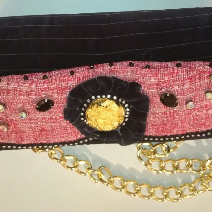 Handmade black suede purse with beads