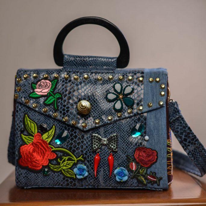 Handmade blue bag in canvas faux skin