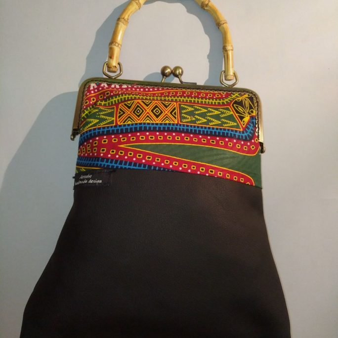 Faux black leather handbag African fabric top W22 H30
