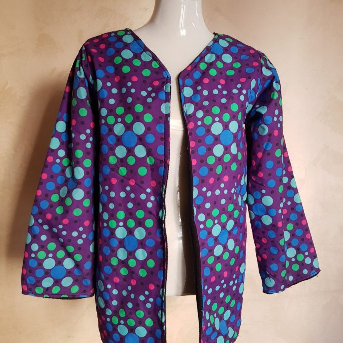 Handmade reversible black colour-spotted ladies light jacket