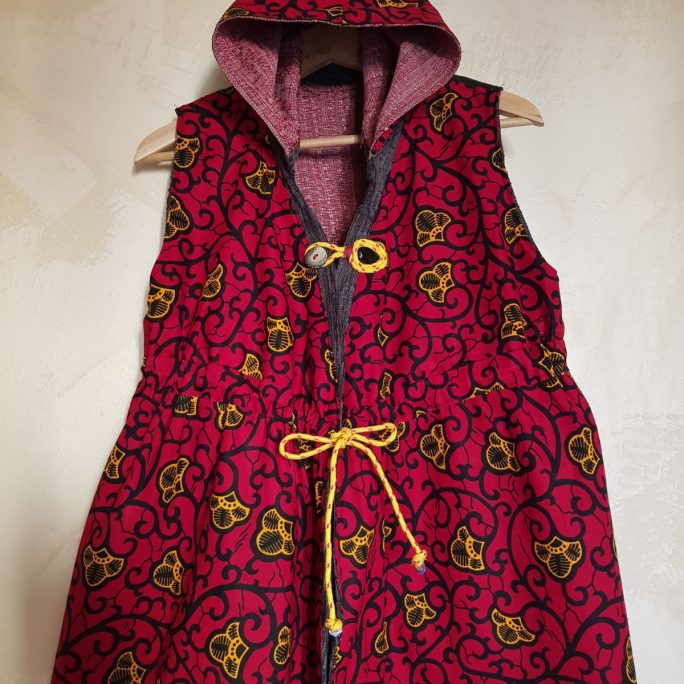 Handmade ladies armless reversible hood jacket