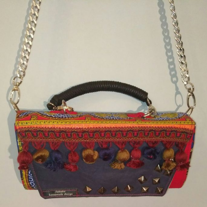 Handmade large purse orange African fabric