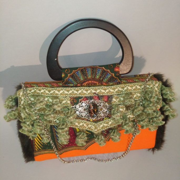 Handmade purse African orange fabric