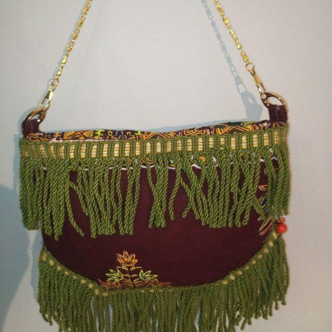 Handmade purse wine cloth green with African fabric