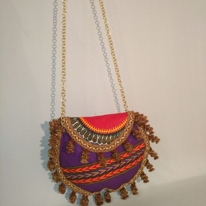 Handmade round purse African fabric