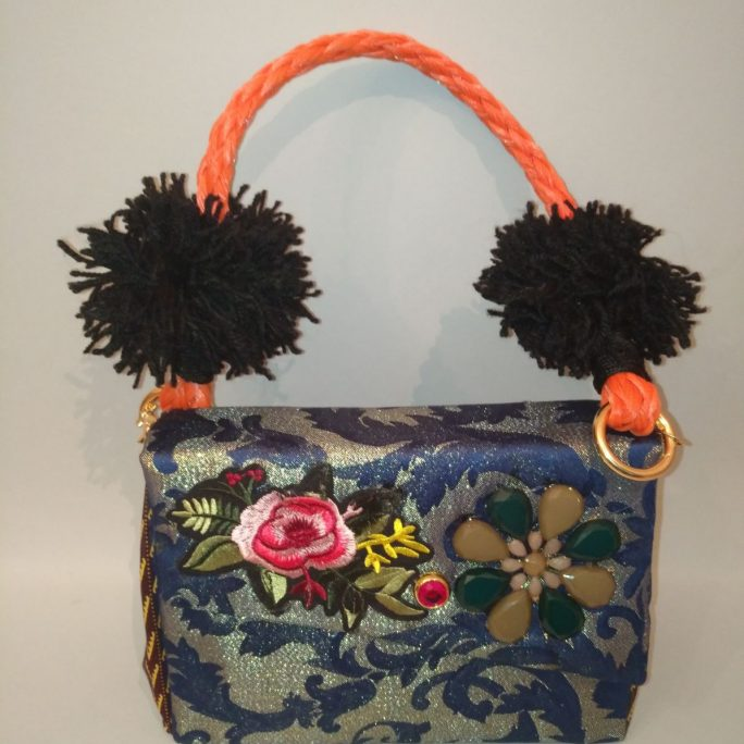 Handmade blue bag African fabric floral beads flower design