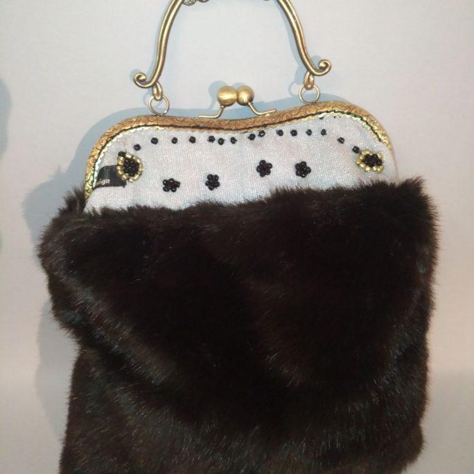 Handmade dark green faux fur bag with silver cloth top W27 H30