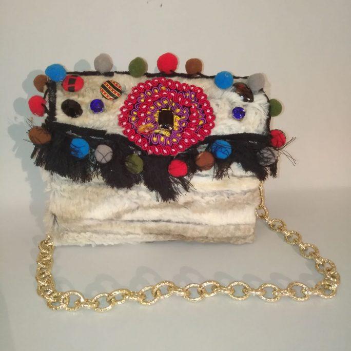 Handmade faux fur cream-colour bag