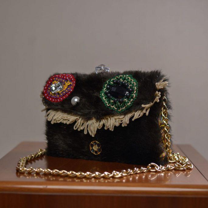 handmade faux fur dark green bag
