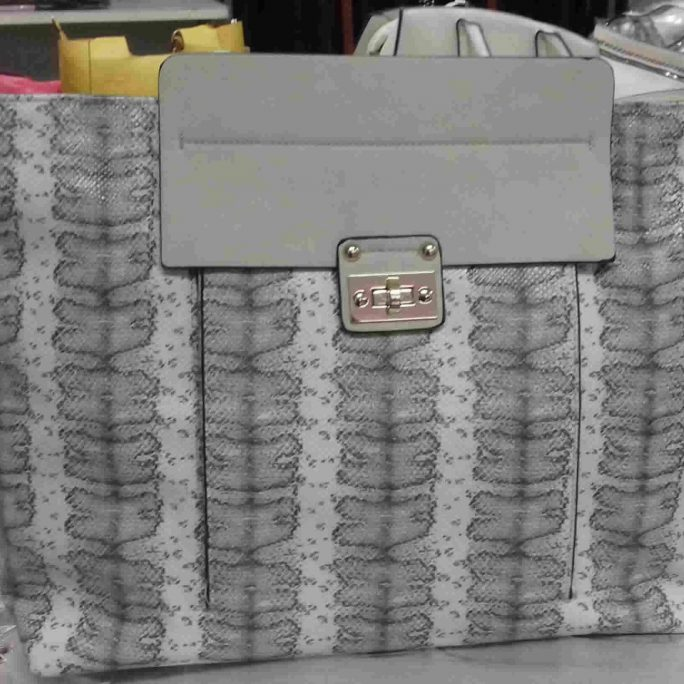 Grey faux snake skin stripe tote bag