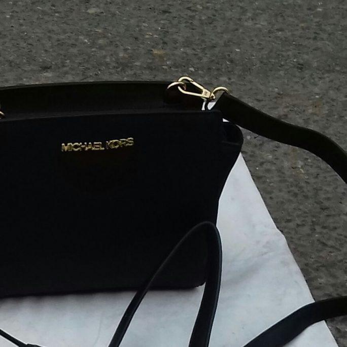 Michael Kors faux black leather bag