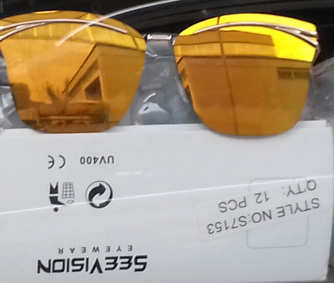 Opaque Gold Top Bar Frame Rimless Lenses Sunglasses