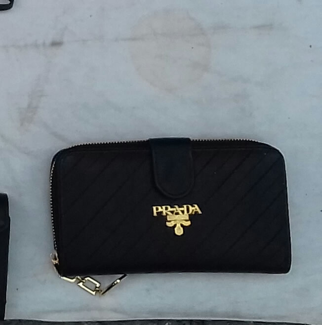 Prada black wallet replica