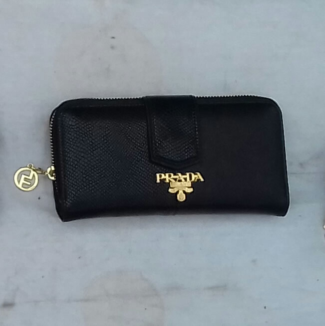 Prada centre zip purse narrow snap