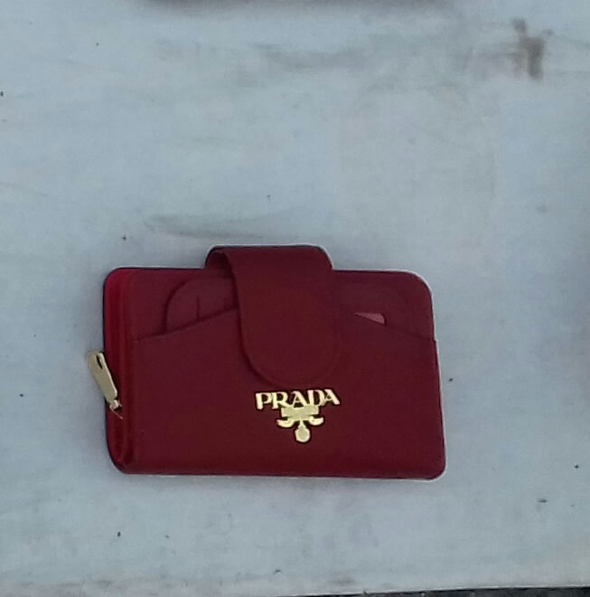 Prada compact wallet magnetic snap