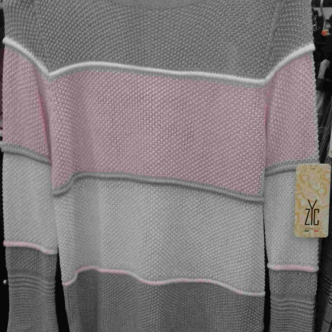 Summer light pink striped sweater top