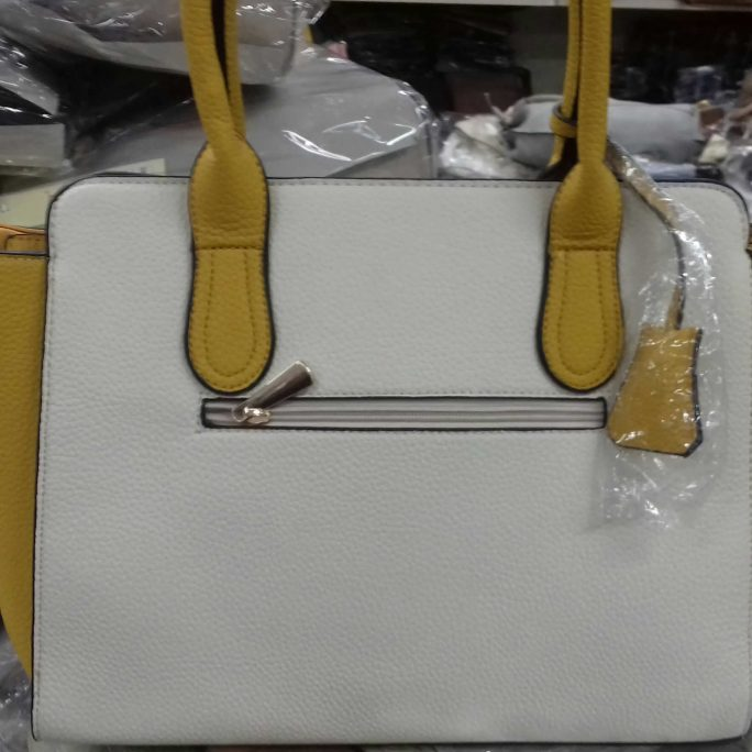 White dark citrine 2-tone tote bag