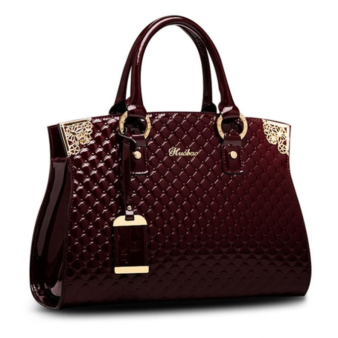 Women Genuine Patent Leather Handbags Satchel